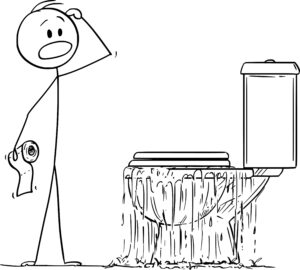 Illustration of a cartoon stick figure looking perplexed at an overflowing toilet