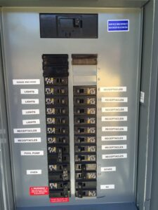 electrical panel labeled